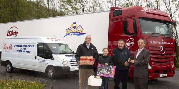 Liam Grant from Glenmore, CEO Chernobyl Aid Ireland; Ellie O'Leary, John O'Connor, driver for Chernobyl Aid Ireland and Brett Gourlie director of O'Leary Transport