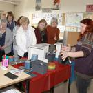 Marian Heaphy demonstrating upcycling at the ICA Arts & Crafts Day in Coláiste Bríde, Enniscorthy