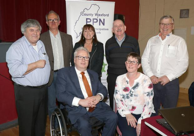 Back: John Carr, Jonathan King, Caroline Horan (access officer Wexford Co. Council), Noel Stacey and Pat Rath. Seated: Sean Connick and Annette Dupey at the 'Let's Talk About Disability' organised by PNN (Public Participation Network) in Oylegate Community Centre