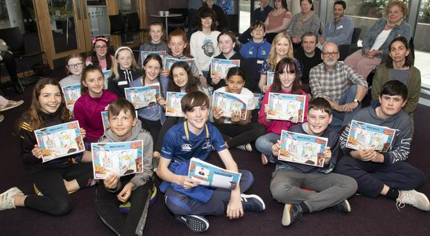 Pupils from Educate Together with Roddy Doyle, Colm Kearney, Ruth Jennings and Caroline Busher