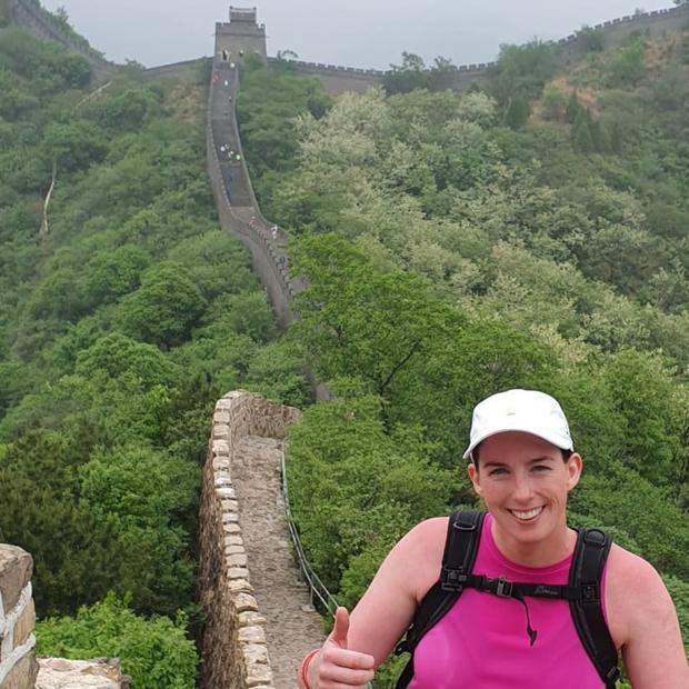 That's a lot of steps! Donna faces into another major climb during the Great Wall Marathon