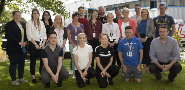 Integer staff and charity committee members at the launch of their charity of the year, Pieta House, campaign outside Integer
