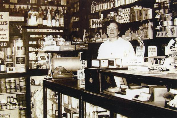 Mary Jo Kent in the old pharmacy