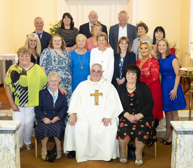 Fr Michael Doyle from Terrerath, celebrating his silver jubilee at Mass in Terrerath, photographed with extended family