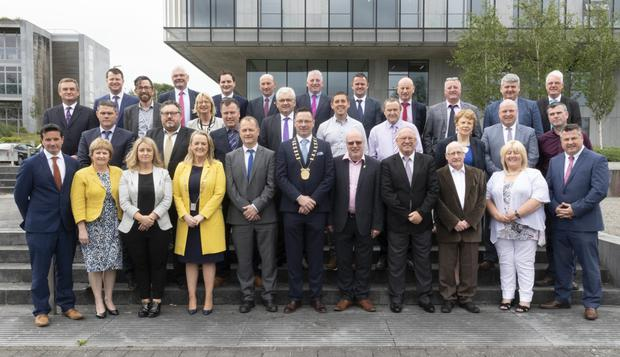 Wexford's newly-elected county councillors gather for their first meeting at Council Buildings, with Wexford Co Council CE, Tom Enright. Missing from the photo are councillors Jim Moore and John O'Rourke