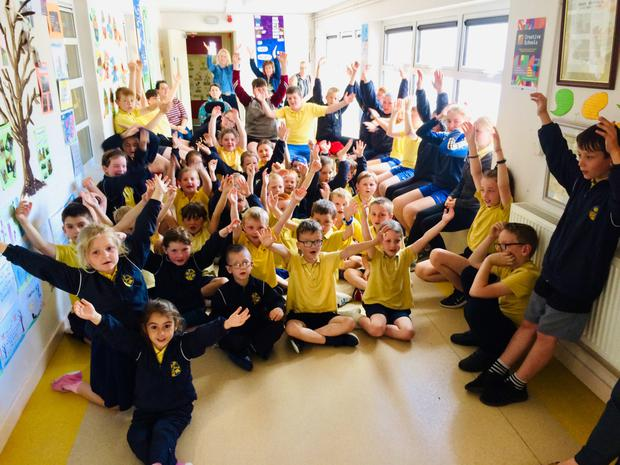 Ballycullane NS pupils celebrating their participation in the Creative Schools programme