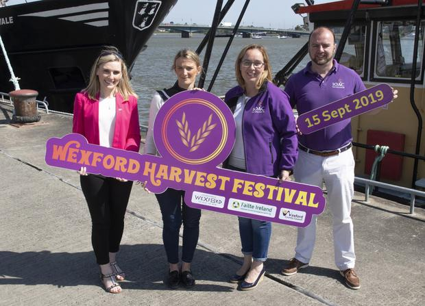Aileen Dowling (Failte Ireland), Sara Doran (Wexford Food Family) and Carmel and Adrian Tennant of the IOAC launching the Wexford Harvest Festival, which takes place in the IOAC Centre Tagoat on September 15
