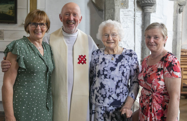 Fr Byrne bids farewell to his parishioners Lily Brennan, Bridget Doran and Mina Doran