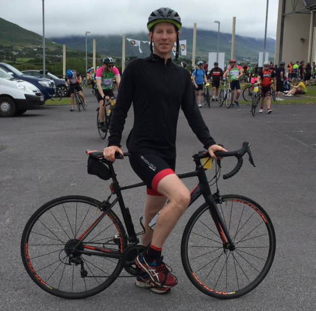 Enjoying a rest stop in my father's home town of Cahersiveen during the cycle