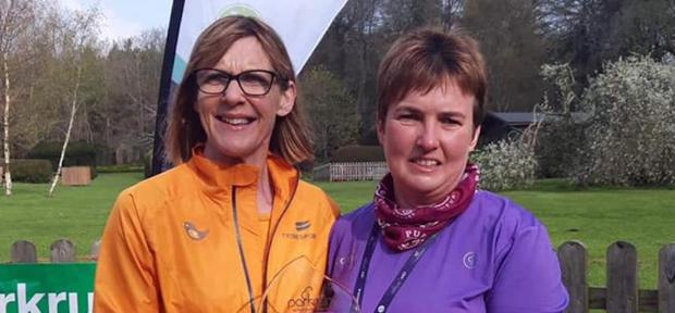 Catherine Dempsey, pictured right, receiving her VHI Hero Award.