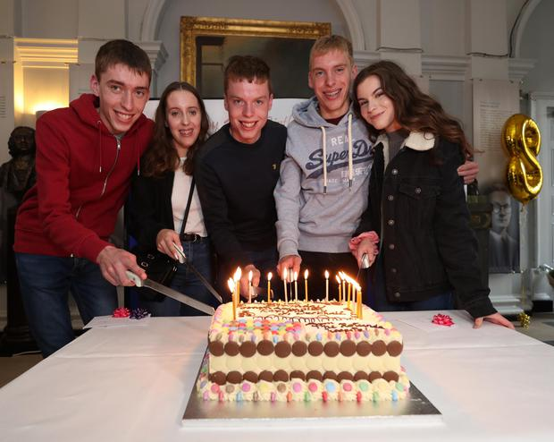 The Cassidy siblings, Conor (left) Amy, Cian, Rory and Derbhail, Ireland's only quintuplets, return to the Rotunda Maternity Hosptal in Dublin to mark their 18th birthday.