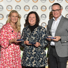 Clodagh Davis from Naturally Cordial, with her Gold, Silver and Bronze awards, with sponsor Birgitta Curtin and Diarmuid Murphy from Dunnes Stores