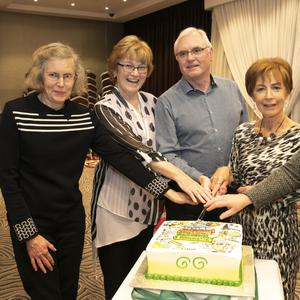 Retiring staff Ann Doyle, retiring after 19 years; Bernie Corbett, retiring after 38 years; John Corcoran, retiring after 38 years; Janet Kennedy, retiring after 41 years and Catherine Murphy, retiring after 42 years