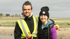Keith and Serena Nolan taking part in the community clean-up in Fethard