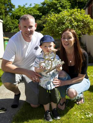 Aoife Chapman and Nicky Haberlin from Mountross, who had to cancel their wedding due to Covid-19, with their son Sam.