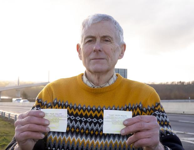 Billy Moroney from Camblin, New Ross with his ticket prize inquiry slips. Photo: Mary Browne