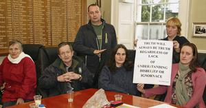 Haughton Place residents protesting in the Tholsel on Friday