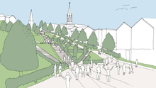 An artist's impression of how the gardens will look as they rise from Bridge Street up along the steep High Hill