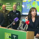 Meteorologist Evelyn Cusack highlighting the power of Hurricane Ophelia