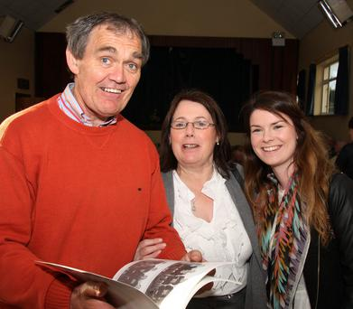 At the launch of two books, 'Monageer past and present' and 'Monageer Cemetery headstones inscriptions', in Monageer Community centre were Benny Mc Cabe, Ann and lorna Cummins.