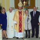 At a presentation of a Bene Merenti medal to Bonnie Laffan in Horeswood Parish Church were her son Kenneth, daughter Brenda, brother in law Fr Sean Laffan, Bishop Denis Brennan, Bonnie Laffan, husband Paul, Fr Gerald O' Leary, PP, Horeswood and son Sean