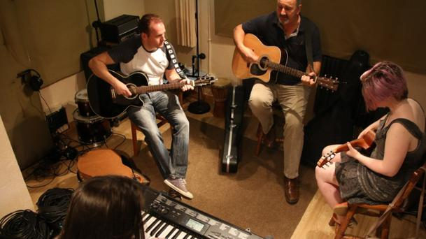 Some of the musicians taking part in one of the sessions
