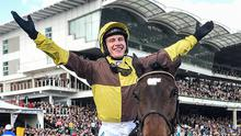 Paul Townend on Burning Victory, after winning the JCB Triumph Hurdle on Day Four of the Cheltenham Racing Festival at Prestbury Park. Photo: David Fitzgerald/Sportsfile