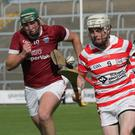 Benny Jordan of Ferns St. Aidan's gets away from Joe Coleman of St. Martin's during the SHC in Innovate Wexford Park