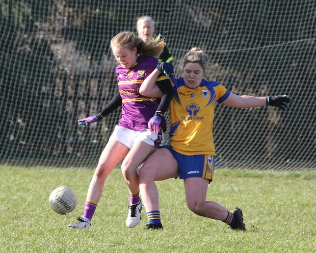 Wexford's Niamh Butler uses her strength to get the better of Clare's Laurie Ryan in St Patrick's Park last weekend. Photo: John Walsh