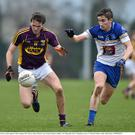 4 January 2015; Colm Kehoe, Wexford, in action against Cathal Compton, DIT. Bord na Mona O'Byrne Cup, Group D, Round 1, Dublin v NUI Maynooth. Pairc Ui Suiochan, Gorey, Co. Wexford. Picture credit: Matt Browne / SPORTSFILE