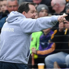 Davy Fitzgerald makes his views known to the fourth official after the controversial incident against Tipperary