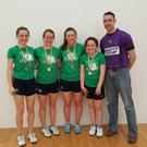 The Wexford quartet on the successful Leinster girls' team with coach Gavin Buggy.