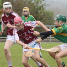 Ollie Murphy (Blackwater) and Brian Codd (St. Martin's) in action in the New Ross Standard Under-14 hurling Division 1 shield final