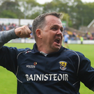 Davy Fitzgerald celebrates after the final whistle in Innovate Wexford Park on Sunday. Photo by Daire Brennan/Sportsfile