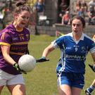 Wexford full-forward Aisling Murphy taking on Anna Healy of Laois