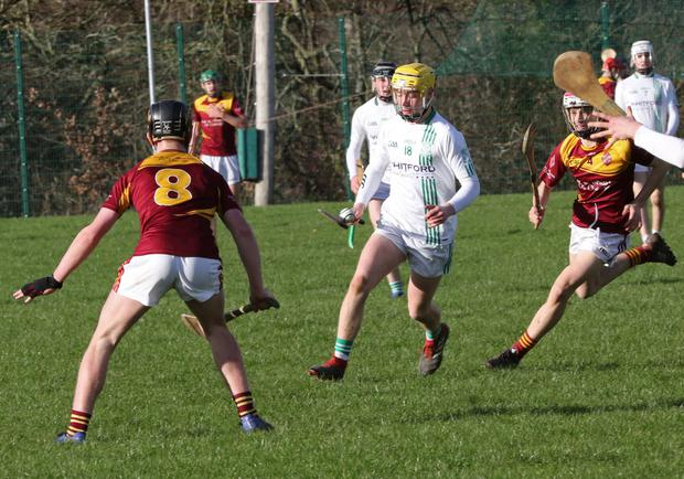 David Codd on the ball for St. Peter's College during their quarter-final exit to Kilkenny C.B.S. in Bunclody