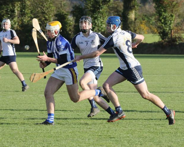 Jack Kehoe of Good Counsel under heavy pressure from Matt Barr and Darragh Power