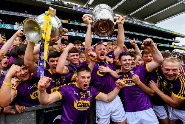 Members of the Senior and Minor teams with the O'Keeffe and Hanrahan Cups after claiming a double for Wexford for the first time since 1970 in Croke Park on Sunday