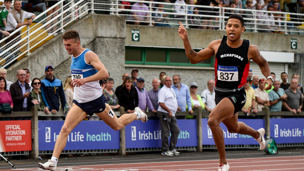 28 July 2019; Leon Reid of Menapians (right) celebrates winning the Men's 200m ahead of Marcus Lawler