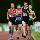 Eoghan Furey, 329, of City of Derry Spartans AC and John McGrath, 476, of United Striders AC, Wexford, competing in the 40+ Mens 800m during the GloHealth National Master Track & Field Championship 2016 at Tullamore Harriers Stadium in Tullamore, Co. Offaly