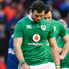 A dejected Robbie Henshaw following Ireland's defeat by Scotland