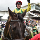 Jubilant jockey Robbie Power after winning the Cheltenham Gold Cup on Sizing John