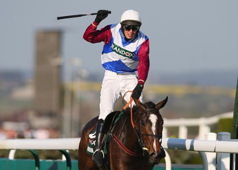 Derek Fox celebrates after winning the Grand National on board One For Arthur. Pity I wasn't doing the same.