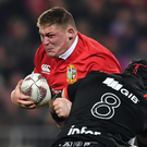 Tadhg Furlong is challenged by Jordan Taufua on Saturday