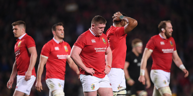 Tadhg Furlong takes a breather during the drawn third Test in Eden Park, Auckland, on Saturday
