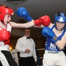 Emmet Gahan (St. Ibar's/St. Joseph's, right) in action in his first-ever competitive bout.