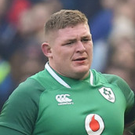 Tadhg Furlong is assisted from the field against Italy on Saturday
