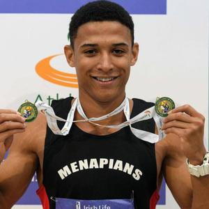 Leon Reid proudly displaying his medal haul