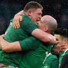 Tadhg Furlong celebrates with Devin Toner after Saturday's Grand Slam-clinching victory over England in Twickenham
