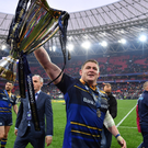 The European Champions Cup is in safe hands as Tadhg Furlong displays it proudly after Saturday's success in Bilbao. Photo by Ramsey Cardy/Sportsfile